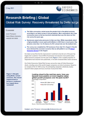 Global Risk Survey: Recovery threatened by Delta surge