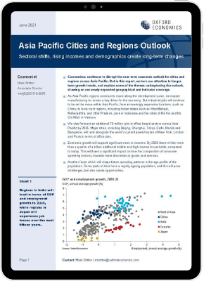 First page of Oxford Economics' Research Briefing titled APAC cities outlook, Q2 2021