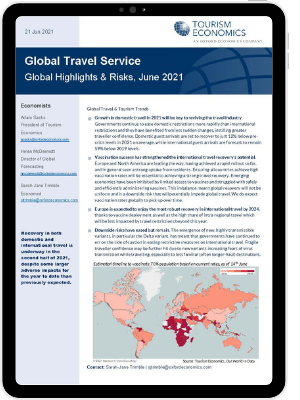 The first page of Oxford Economics' Research Briefing titled Global travel outlook highlights & risks which is released in June 2021