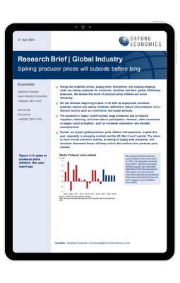 Research Briefing Global Industry   Spiking producer prices will subside before long