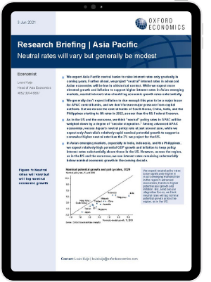 The cover of our research briefing titled neutral rates will vary but generally be modest