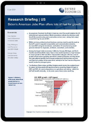 The first page of our Research Briefing titled Biden's American Jobs Plan offers lots of fuel for growth