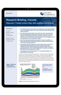 Canada  Recovery Tracker enters May with positive momentum - iPad