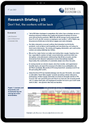The first page of Oxford Economics' Research Briefing titled don't fret, the workers will be back