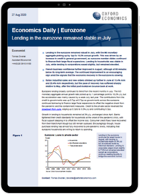 Lending in the eurozone remained stable in July - iPad