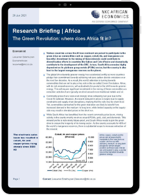 The first page of Oxford Economics' Research Briefing titled The Green Revolution: where does Africa fit in?