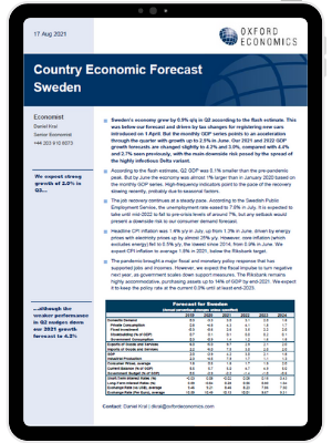 Sweden   We expect strong growth in Q3